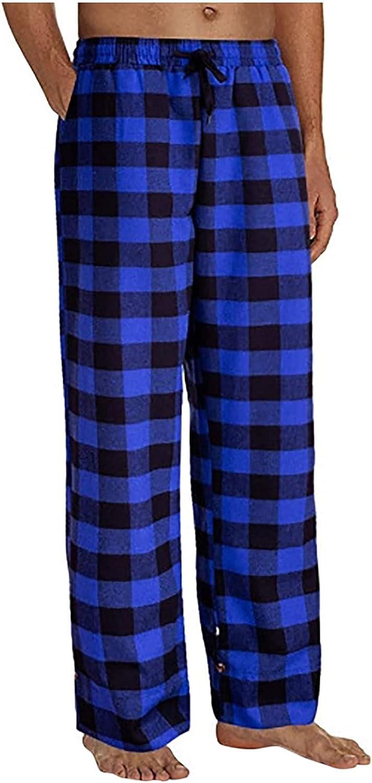 Fashion Men's Cotton Casual Plaid Loose Sport Soft Plaid Elastic Waistband Yoga Pajama Pants Trousers