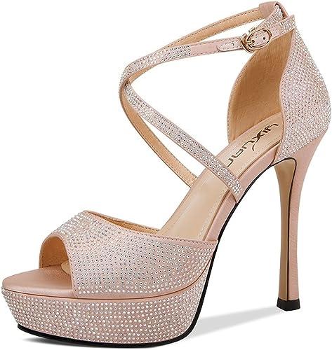 Sandalias de Diamantes de Imitación Tacones de Aguja Sandalias de Silberforma Femenina