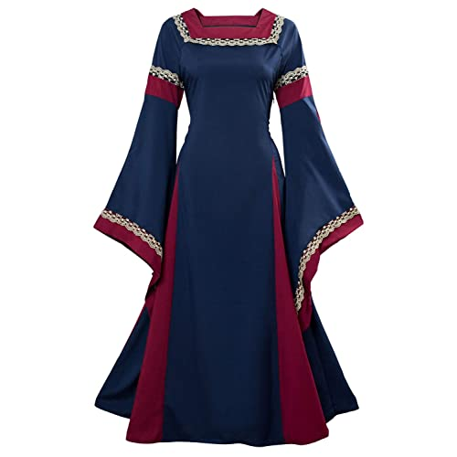 tianxin Womens Retro Renaissance Medieval Costume Dress Long Flare Sleeve Gothic Victorian Fancy Evening Dress