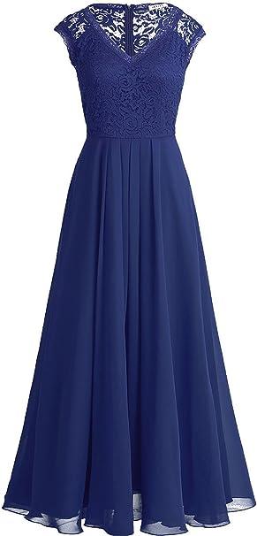 Tiaobug Elegant Damen Kleider Festlich V Ausschnitt Cocktailkleid Lange Chiffon Abendkleider Brautjungfernkleid Gr 34 46 Amazon De Bekleidung