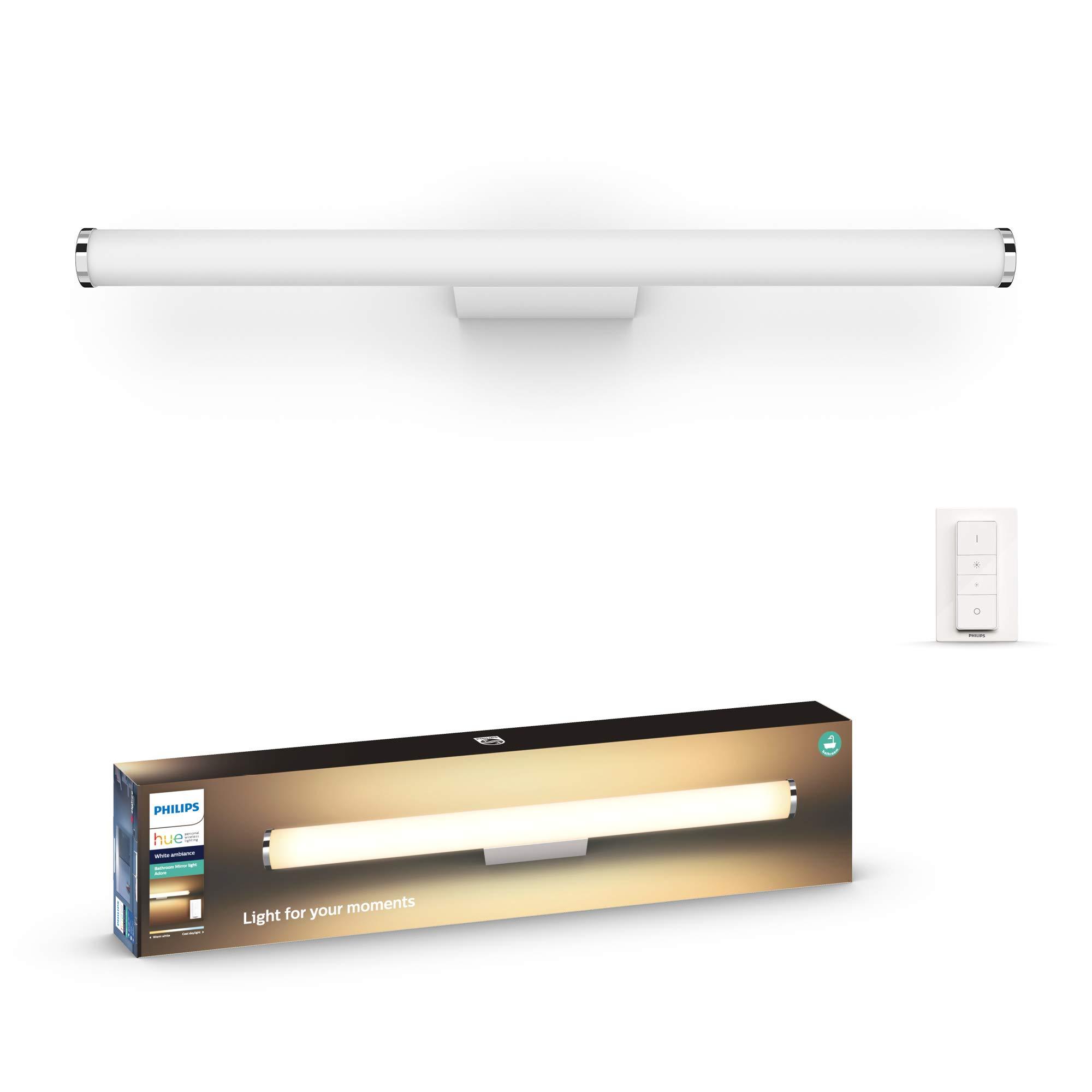 Philips Hue Adore - Aplique tamaño grande LED inteligente blanco para baño  con mando, luz regulable de blanca cálida (16K) a fría (16K)
