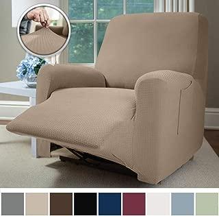 beige material sofa