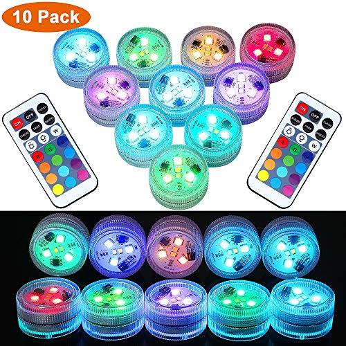 RGB Unterwasser LED Licht mit Fernbedienung, LUXJET Teelichter Ternbedienung Wasserdicht LED-Teelichter, super helle, warmweiße RGB-LED-Lichter für Party-Events Vase Laterne Hochzeitsbeleuchtung