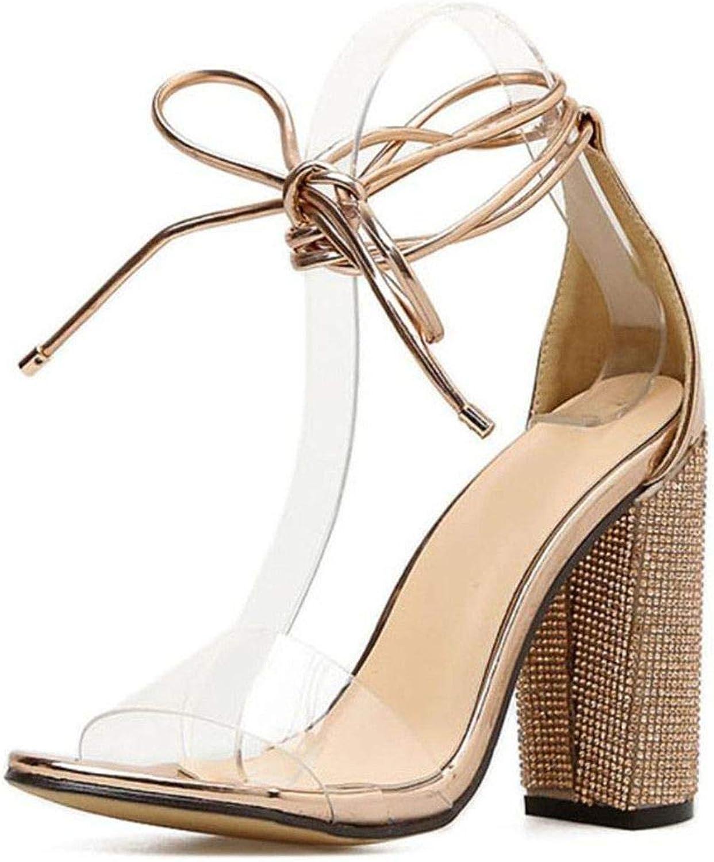 Guige Aneikeh Women High Heels Sandals Summer Square Heels Crystal Heeled Platform shoes