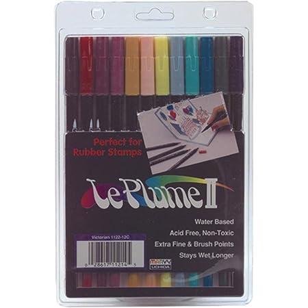 Dual Brush /& Extra Fine Pen Markers 12 Set Coloring Set Bright Colors; Uchida Le Plume II Dual Brush Pen Art Markers; Drawing