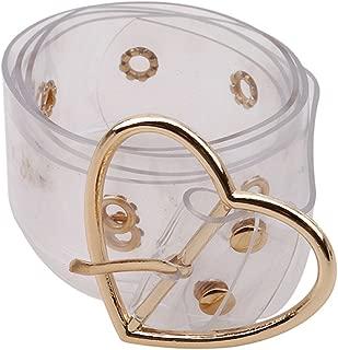 UNKE Fashion PVC Wide Transparent Clear Jelly Waist Belt with Fancy Buckle for Women Girls,Gold,Heart
