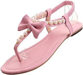 KemeKiss Womens Ladies Summer Pearls Bow Knot Flat Sandals Split Toe Post Flip Flops Casual Boho Shoes Mini Size