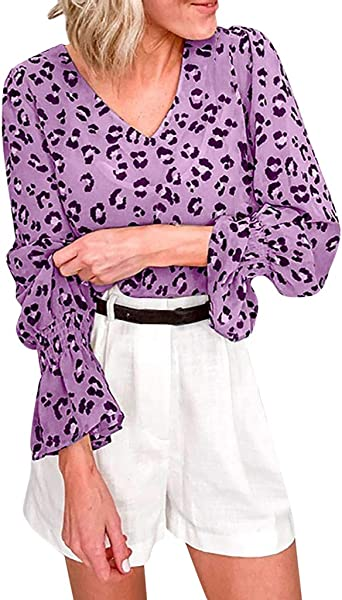 TOTOD Women Shirt Tops Chiffon Leopard Dot Print Fashion Flare Long Sleeve V Neck Loose Ladies Blouse