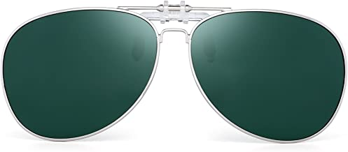 Retro Clip on Aviator Sunglasses Polarized Flip up Lenses Driving Eyeglasses Men