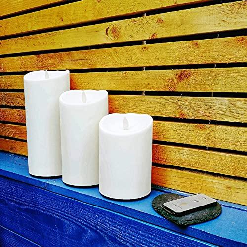 Luminara Kerzen für den Außenbereich, flammenlos, batteriebetrieben, mit Fernbedienung - Full Set of Three