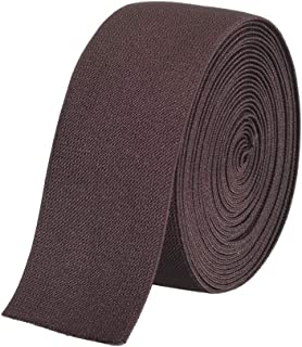 Gourd Colored Woven Elastic Band, 3-Yards (Brown, 2-Inch)