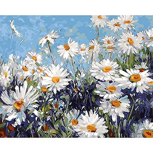 Diy Malerei weiße Blume digitale Wandkunst Malerei Acrylfarbe Home Decoration einzigartiges Geschenk 40x50cm
