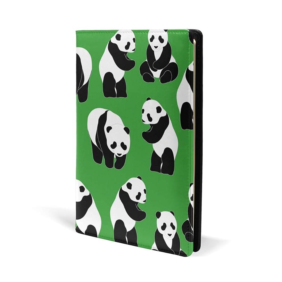 堂々たるしないでくださいリースブックカバー a5 パンダ グリーン かわいい 文庫 PUレザー ファイル オフィス用品 読書 文庫判 資料 日記 収納入れ 高級感 耐久性 雑貨 プレゼント 機能性 耐久性 軽量