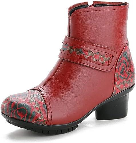 YAN Bottes à la Cheville pour Femmes Bottes de Neige rétro en Cuir Vintage, Bottes Courtes en Cuir pour Dames, Chaussures pour mère Noir Rouge (Couleur   Rouge, Taille   38)