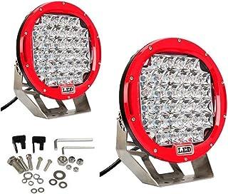 Lumitek 2x 185w 9 Inch Red Headlamp Lamp Round Led Off Road Light 5W CREE LEDS Spot Beam Led Work Light Fog Light Driving Light Roof Bar Bumper for SUV Boat 4x4 Jeep …