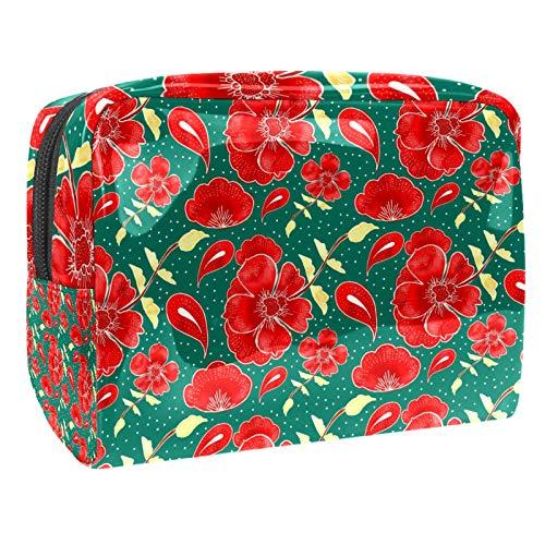Bolsa de aseo portátil de viaje con cierre de cremallera de color verde floral de verano de 19 x 7 x 12 cm