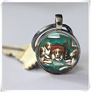 Dogs Playing Poker Keychain,Funny Keychain,Dome Glass Ornaments, Pure Handmade
