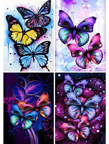 4 Pack 5D Full Drill Diamond Painting Kit, KISSBUTY DIY Butterfly Diamond Rhinestone Painting Kits for Adults and Beginner Butterflies Diamond Arts Craft Decor, 13.8 X 9.8 Inch
