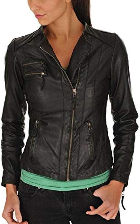 New Fashion Style Women's Leather Jackets Black J46_
