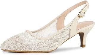 Allegra K Women's Pointy Toe Lace Kitten Heel Slingback Pumps