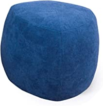 WEHOLY Foot Stool Footstools and s Teal Modern Living Room Velvet Flannel - Grey Velvet Decorated Modern Round futon Bedro...
