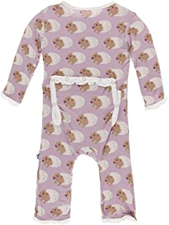 KicKee Pants Print Muffin Ruffle Coverall with Zipper (9-12 Months, Sweet Pea Diictodon)