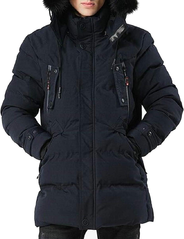 LEISHOP Mens Thicken Faux Fur Hoodie Winter Down Padded Jacket Coat