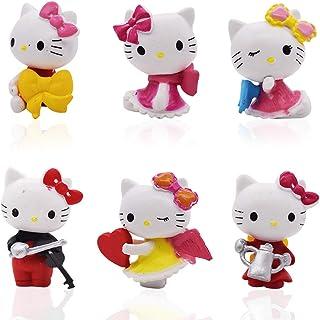 Hello Kitty Cake Decoration - YUESEN 6Pcs Hello Kitty Cake Topper Juguete de Figura Mini Juego de Figuras Niños Mini Jugue...