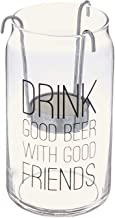 Clear Pavilion Gift Company 68106 Man CraftedDrink Good Beer With Good Friends Glass Cup Candle Holder