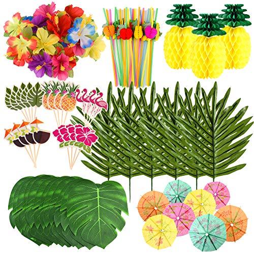 FEPITO decoraciones de fiesta hawaianas tropicales Set Luau Party Supplies Decoración Hojas tropicales Flores, papel de seda Piñas, Cupcake Toppers, Selecciones de paraguas de papel para decoraciones