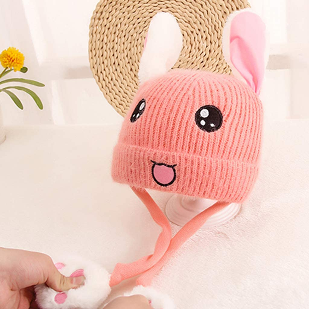 a forma di coniglio con orecchie mobili per bambini caldo da 1 a 10 anni Wuli77 Cappello invernale per bambini invernale
