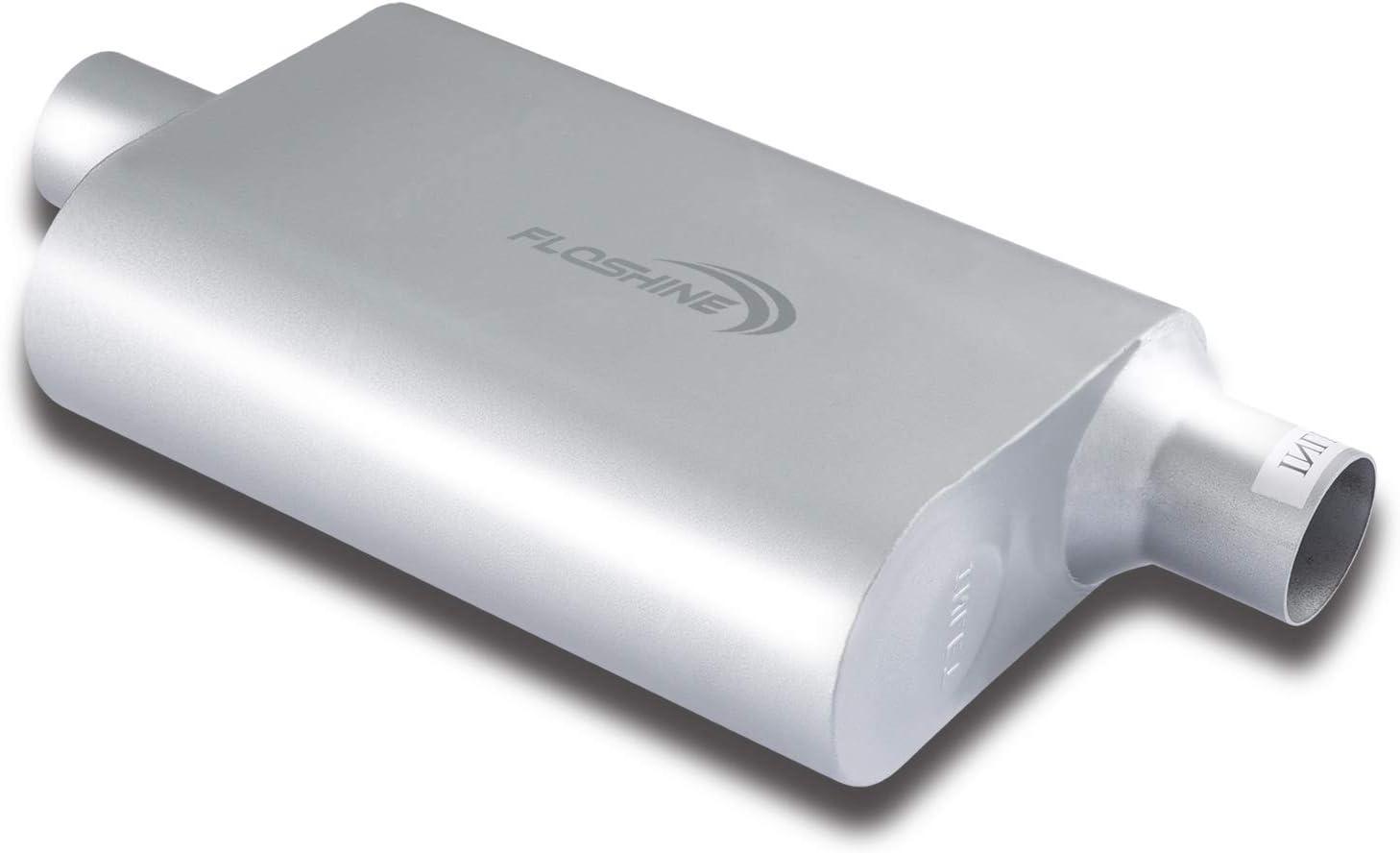 Floshine Universal Mufflers,Dual Chamber 2.25 inch inlet/2.25 in