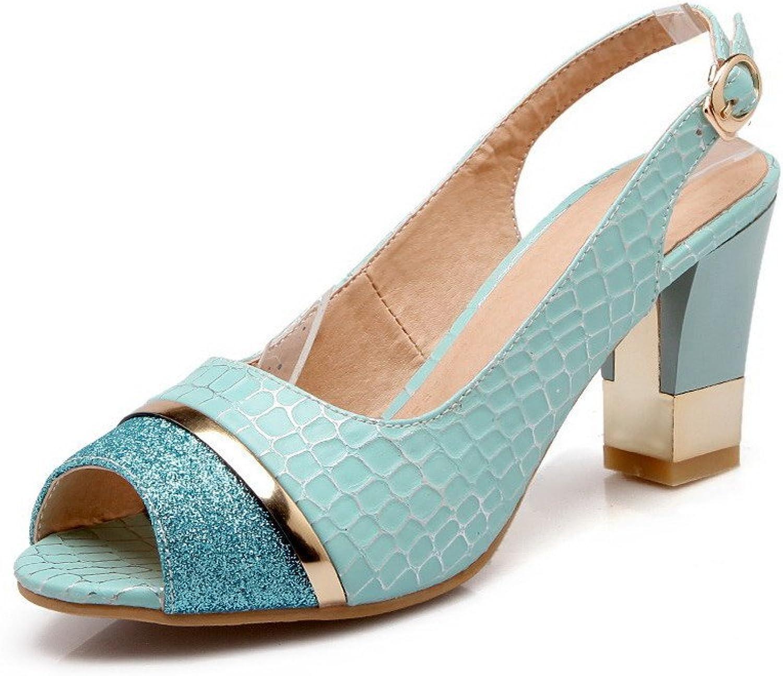 AmoonyFashion Women's Buckle PU Peep-Toe High-Heels Checkered Sandals