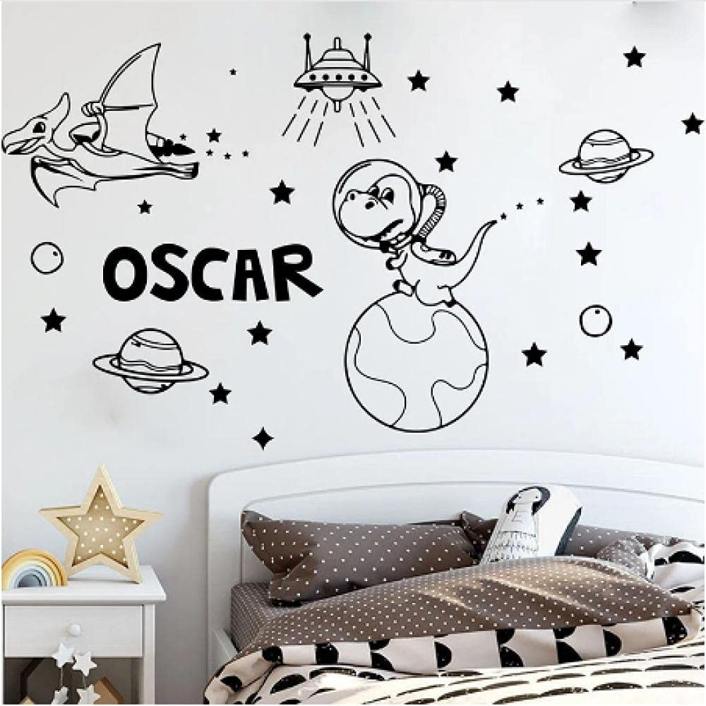 Animer and price revision Xiaopang overseas Personalized Name Dinosaur Wall Sticker Space Astronomy