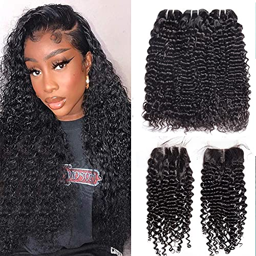 Vipbeauty Malaysian Deep Curly 3 Bundles With Closure Three Parting Unprocessed Virgin Hair Weave Extensions With 4x4 Lace Closure ( 18 20 22 with 16 Closure )