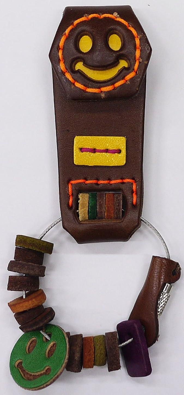 手つかずのスカリー維持するキーホルダー キーリング レザー 革 ハンドメイド カラフル スマイル コンチョ ;CLKH-013