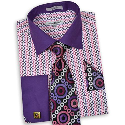 Daniel Ellissa Men's Long Sleeve Dress Shirt Tie Cufflink Hanky 3790 (Purple Pink, X-Large 17.5' Neck, 36-37' Sleeve)