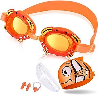 OTraki Swimming Goggles Silicone Swim Cap Set Kids Age 3-12 Boys Girls Leakproof Anti Fog Swim Goggles Children Early Teens Adjustable Strap Swimming Glasses with Case, Nose Clip, Ears Plug Orange
