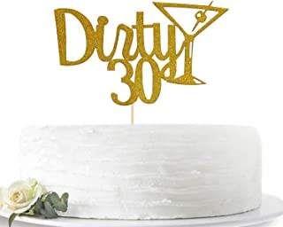 Gold Glitter Dirty 30 Happy Birthday Cake Toppers Party Decoration