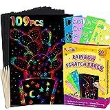 pigipigiRainbowScratchPaperArt -100SheetsMagicScratchOffCraft Kit for Kids Color Drawing Note Pad Supply forChildrenGirlsBoysDIYPartyFavorGameActivityBirthdayChristmasToyGiftSet