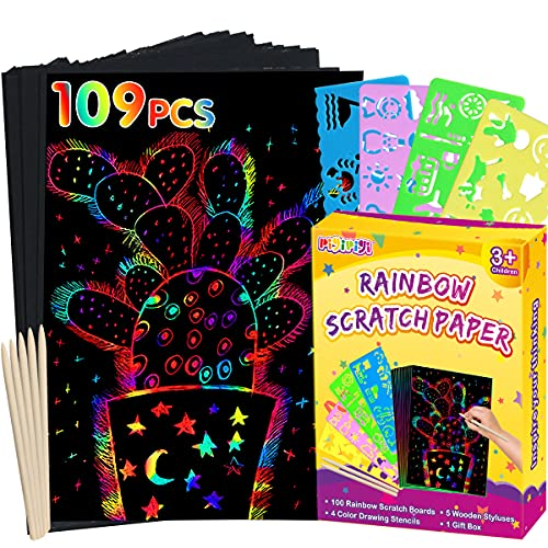 pigipigiRainbowScratchPaperArt -109PcsMagicScratchOffCraft Kit for Kids Color...