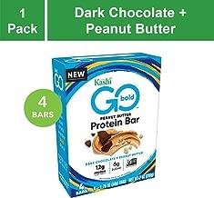 Kashi GO Protein Bars - Dark Chocolate Peanut Butter | Vegan | Non-GMO | Box of 4