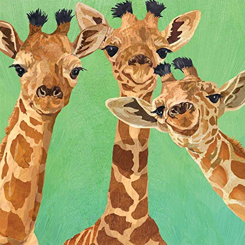 """Paperproducts Design PPD 1252725 Giraffe Amigos Beverage/Cocktail Paper Napkins,5""""x5"""", Multicolor"""