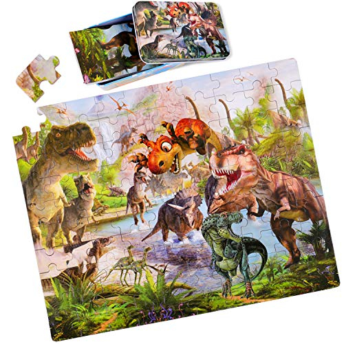 RolimateRompecabezas de Madera para niños, Rompecabezas de Dinosaurios Juguetes educativos Montessori con Caja de Rompecabezas de Metal, 3 4 5 6 años niños y niñas [100 Piezas]
