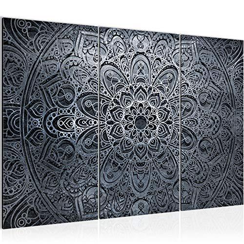 Runa Art Mandala Abstrait Peinture Tableau Salon XXL Noir Blanc Gris 120 x 80 cm 3 Parties Decoracion Murale 109431c