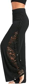 Womens High Waist Side Slit Lace Up Wide Leg Lace Panel Long Palazzo Pants