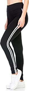 ROOLIUMS ® (Brand Factory Outlet) Girls Stripe Tights for Yoga, Gym and Active Sports Fitness (Black-White)