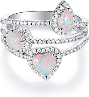 OPALBEST 18K White Gold Plated Cocktail Ring Fire Opal Ring for Women Men Promise Engagement Band Gift (Size 5-10)