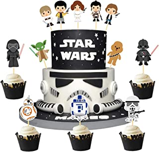 BCHOCKS 24Pcs Star Wars Theme Cupcake Topper Cake Picks Decoration for Baby Shower Birthday Party Supplies-Yoda, Darth Vader and so on