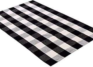 Ukeler 100% Cotton Plaid Rugs Black and White Buffalo Check Rug Retro Farmhouse Decorative Floor Rugs Door Mat Washable Hand-Woven Kitchen Rugs 3'×5'